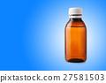Medicine bottle of  plastic on blue background 27581503