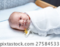 Portrait of cute adorable newborn baby on changing 27584533