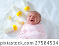 Crying newborn baby girl with nursing bottles 27584534