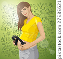 Vector Pregnant Woman With Headphones 27585621