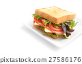 Sandwich ham cheese on white background isolated 27586176