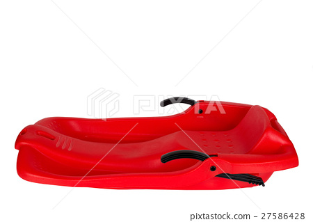 Plastic red sled for skiing on white background 27586428