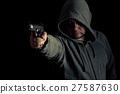 Thug in hoodie points gun 27587630