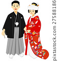 hakama with family crest, bridal couple, bride and groom 27588186