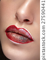 Lips with professional make up and lipstick 27590441