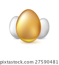 Golden and white Easter eggs, vector illustration. 27590481
