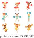 Primary School Little Girls In Cheerleaders 27591007