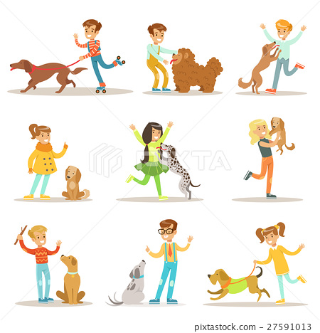 Children And Dogs Illustrations Set With Kids 27591013