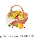 Fresh Garden Fruit Harvest In Wicker Picnic Basket 27591219