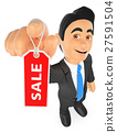 3D Businessman showing a tag with the word sale 27591504