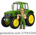 3D Farmer leaning on tractor with thumb up 27591509