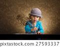 little beautiful vintage writer girl 27593337