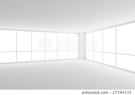 Empty white office room with two large windows - Stock Illustration ...