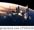 Space Shuttle And Space Station Orbiting Earth 27594256