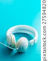 White vintage headphones. 27594820