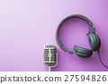 vintage silver microphone and headphones 27594826