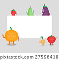 Cartoon fruits and vegetables. Eco food background 27596418