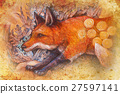 red fox portrait, colorful painting with 27597141