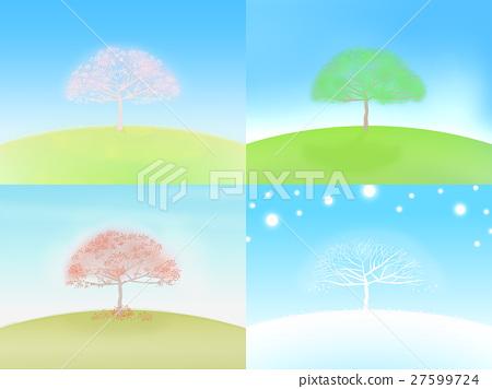 나무의 변화로 나타내는 사계절의 이미지 일러스트 27599724