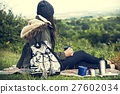 Woman Relaxation Coffee Drinks Picnic Vacation Concept 27602034