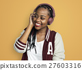 Person Listening Music Headphones Concept 27603316