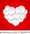 White color of speech bubble on heart shape. 27606074