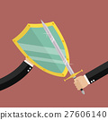 Businessman with shield protecting attact of enemy 27606140