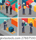 Set of Dock Workers at Warehouse. Vector 27607593