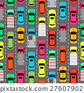 Seamless Pattern Cars on Parking. Endless Texture 27607902