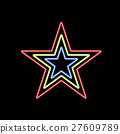 Glowing star of neon on a black background. 27609789