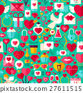 Valentine Day Green Seamless Pattern 27611515