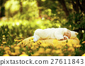 sleeping baby on big yellow pillow in flowers 27611843