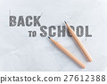 inscription word BACK TO SCHOOL near wooden pencil 27612388