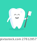 Cute cartoon tooth character with face 27612857