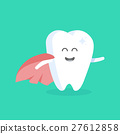 Cute cartoon tooth character with face 27612858