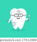 Cute cartoon tooth character with face 27612880