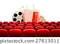Cinema background with a film reel, popcorn 27613011