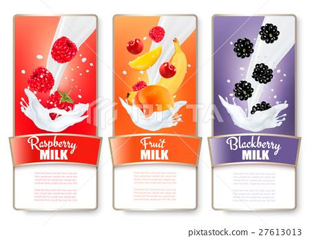 Set of three labels of fruit in milk splashes 27613013