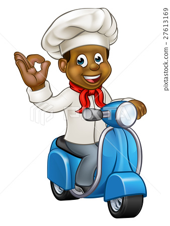 Cartoon Delivery Moped Chef 27613169