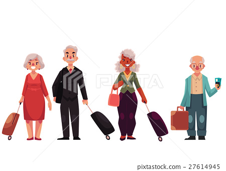 Set of old, grey haired, senior travelers with 27614945