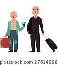 Two old, senior men with suitcases in airport 27614998