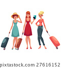 hree girls, in dress and jeans, travelling 27616152