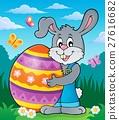 Bunny holding big Easter egg theme 2 27616682