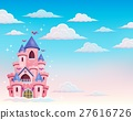 Pink castle in clouds theme 1 27616726