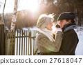 Beautiful senior couple on a walk on sunny winter 27618047