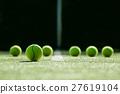 soft focus of tennis ball on tennis grass court 27619104