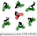 Silhouettes of stuntmen on motorcycles in flight. 27619502