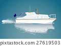 Small boat in movement. Vector. Detailed. 27619503