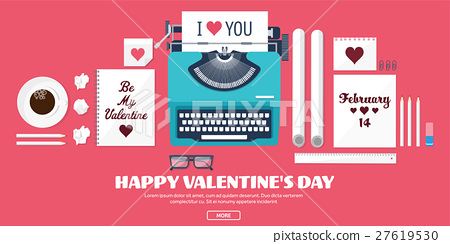 Flat background with typewriter. Love, hearts 27619530