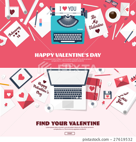 Flat background with typewriter. Love, hearts 27619532